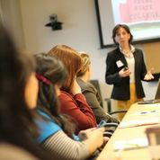 Keene State's Kim Schmidl-Gagne leads a workshop.