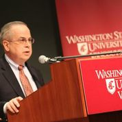 "George Mehaffy delivers keynote address at ""VanCoug American Democracy Project Day."""