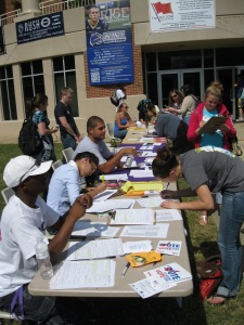 Students get registered to vote at the University of Western Carolina:
