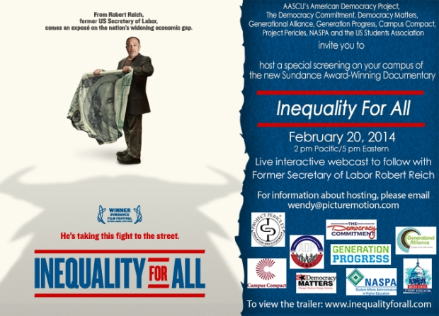 Inequality For All educational event Feb 20 2014